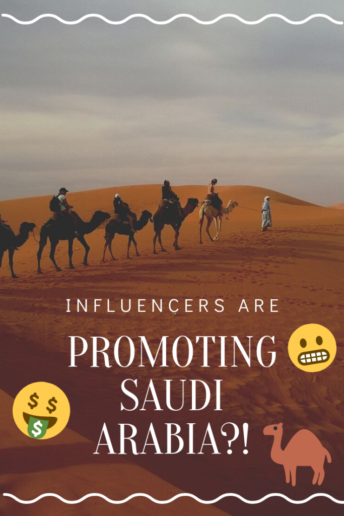 Major influencers recently went on luxurious VIP trips to the Kingdom, where they were treated to private jets, exclusive parties and afforded much more freedom than they ever would be as regular tourists or citizens of the Kingdom. A shining example of this is Aggie Lal, who posted a picture of herself and a shirtless male posing with a sword in the Saudi desert, when residents of Saudi Arabia are required by law to dress modestly. #saudiarabia #welcometoarabia