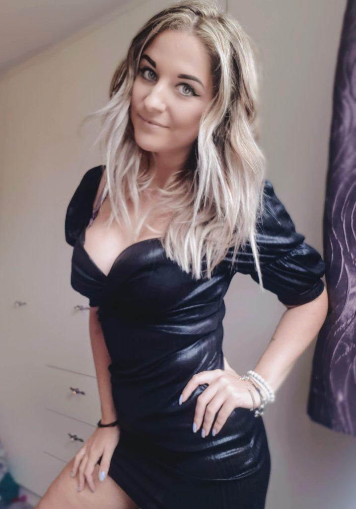 Black Metallic Puff Sleeve Twist Front Mini Dress